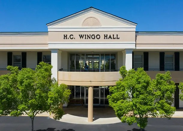 The exterior entrance of Wingo Hall at Charleston Southern University.