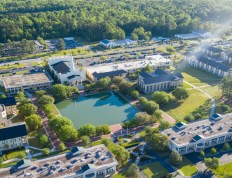 A birds eye view of the center of Charleston Southern's campus in the morning.