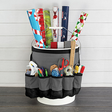 gift wrap organizer with gift wrap in it