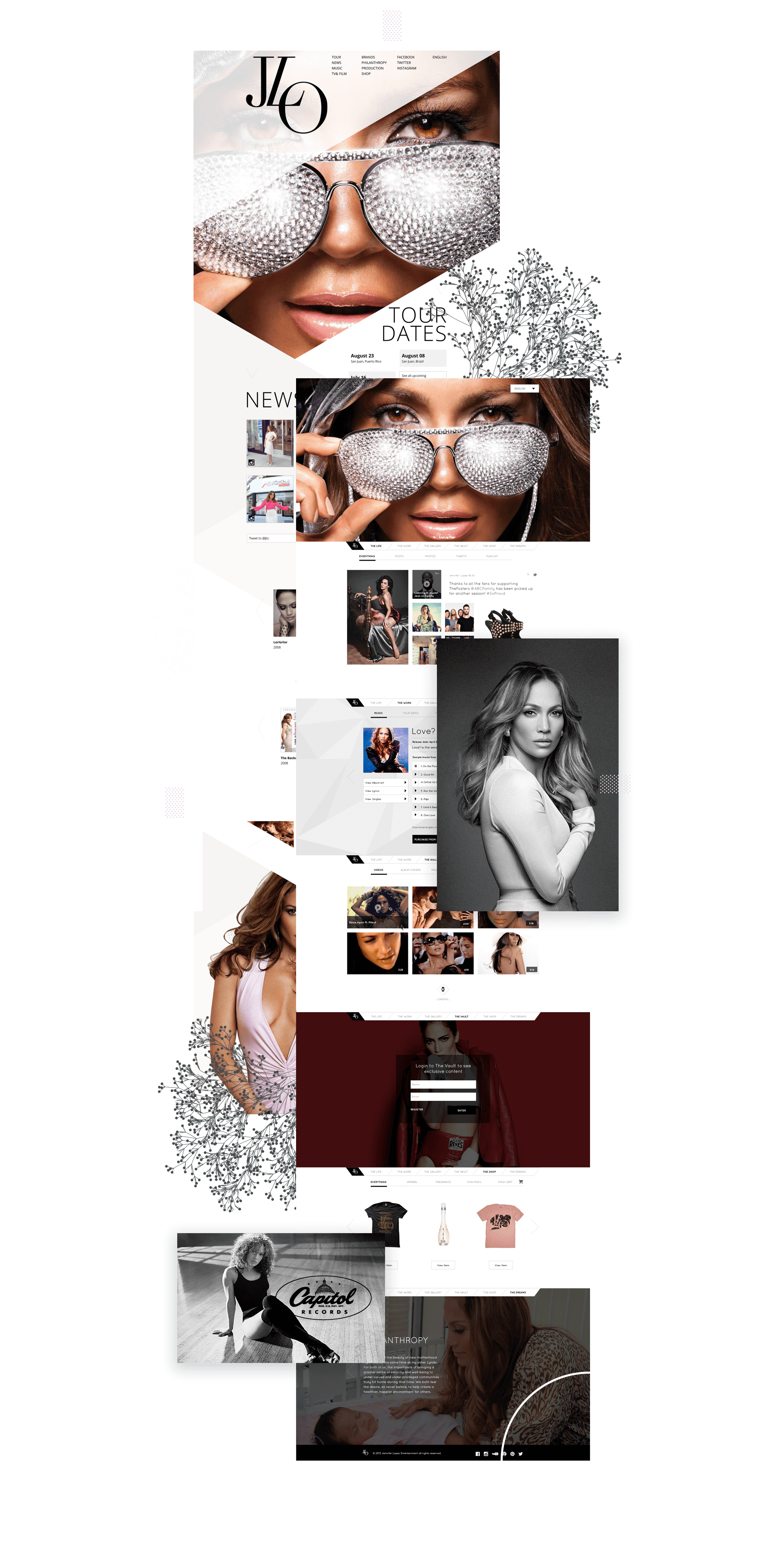 Jennifer Lopez web design pages 2