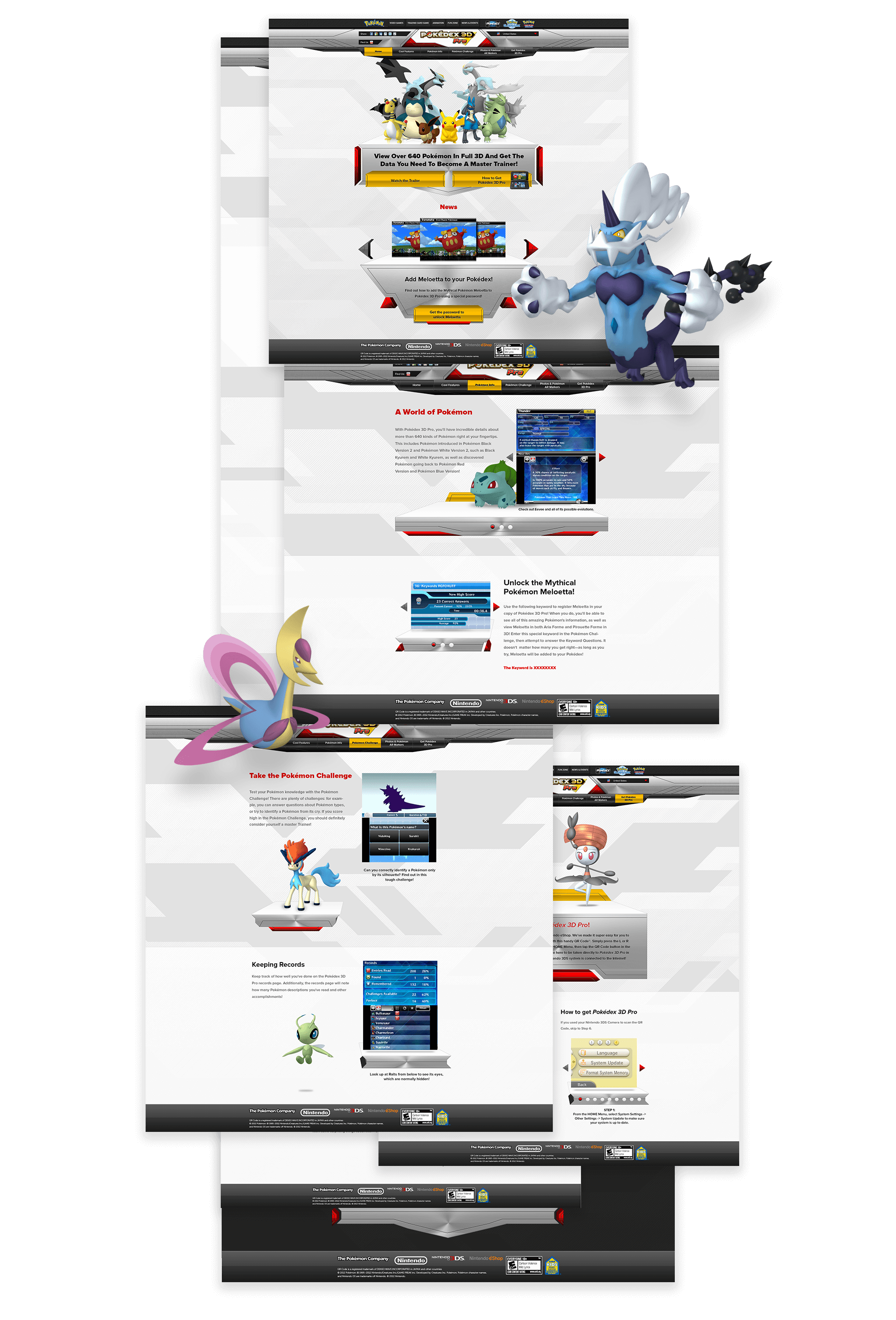 Pokédex pages stacked