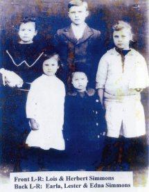 Joseph Herbert Simmons & Siblings, ca 1929, Bradley County, Arkansas, Uncle by marriage, Herbert, the oldest in this photo married Aunt Beulah Irene Doggett, Simmons_Children-ca-1929.jpg