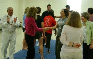 Guru Ranjit at Charlotte laughter yoga class.