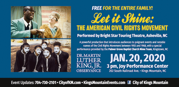 """Let it Shine: the American Civil Rights Movement""--free performance in Kings Mountain"