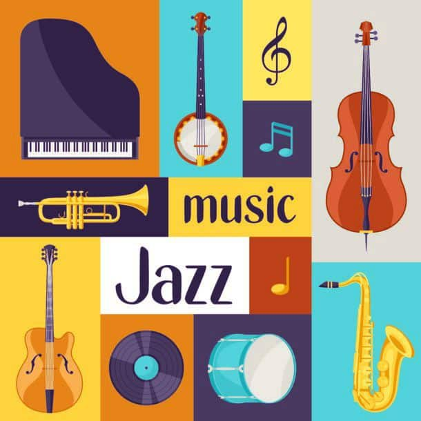 Jazz Music Retro Poster With Musical Instruments Jazz Music Retro Poster With Musical Instruments
