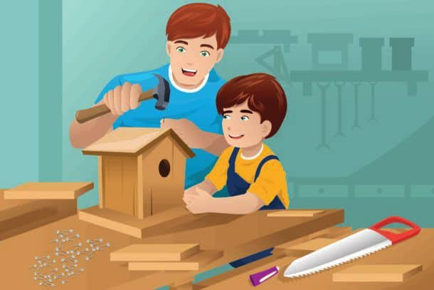 A Vector Illustration Of Father Making A Birdhouse With His Son