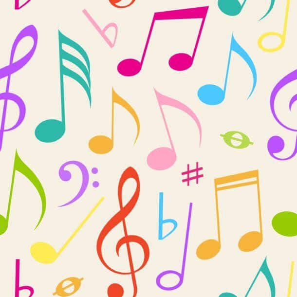 Abstract Vector Seamless Pattern With Music Notes