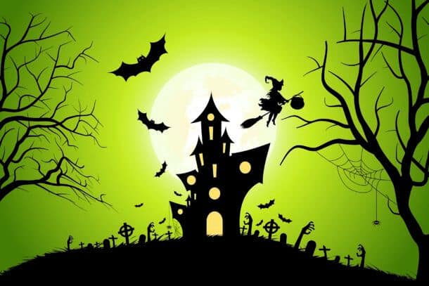 Halloween Background With Whitch And Haunted House Bats Moon And Spider Halloween Background With Whitch And Haunted House