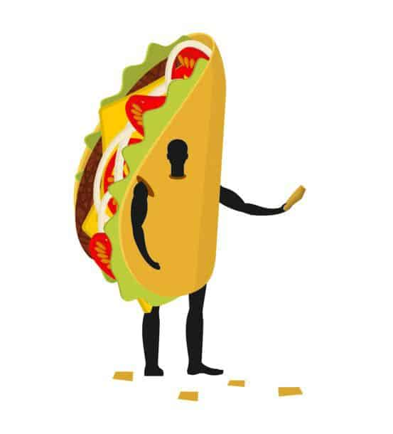 Taco Man Mascot Promoter Male In Costume Fried Tortilla Distributes Flyers Puppets Mexican Food Engaged In Advertising Goods