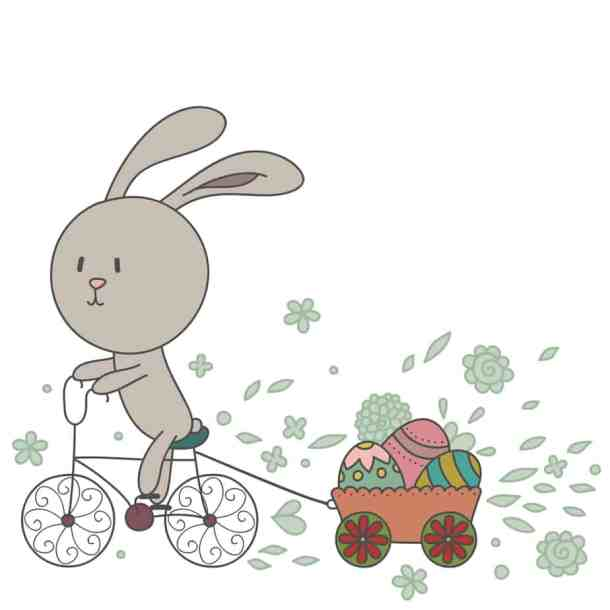 illustration of easter bunny riding bike pulling wagon of easter eggs