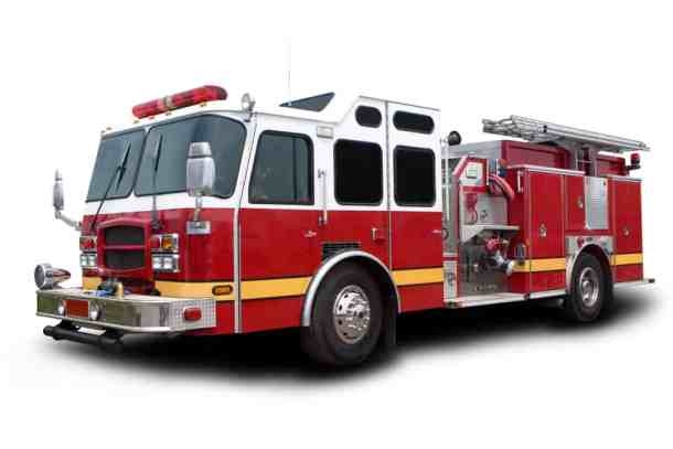 red fire truck isolate on white background