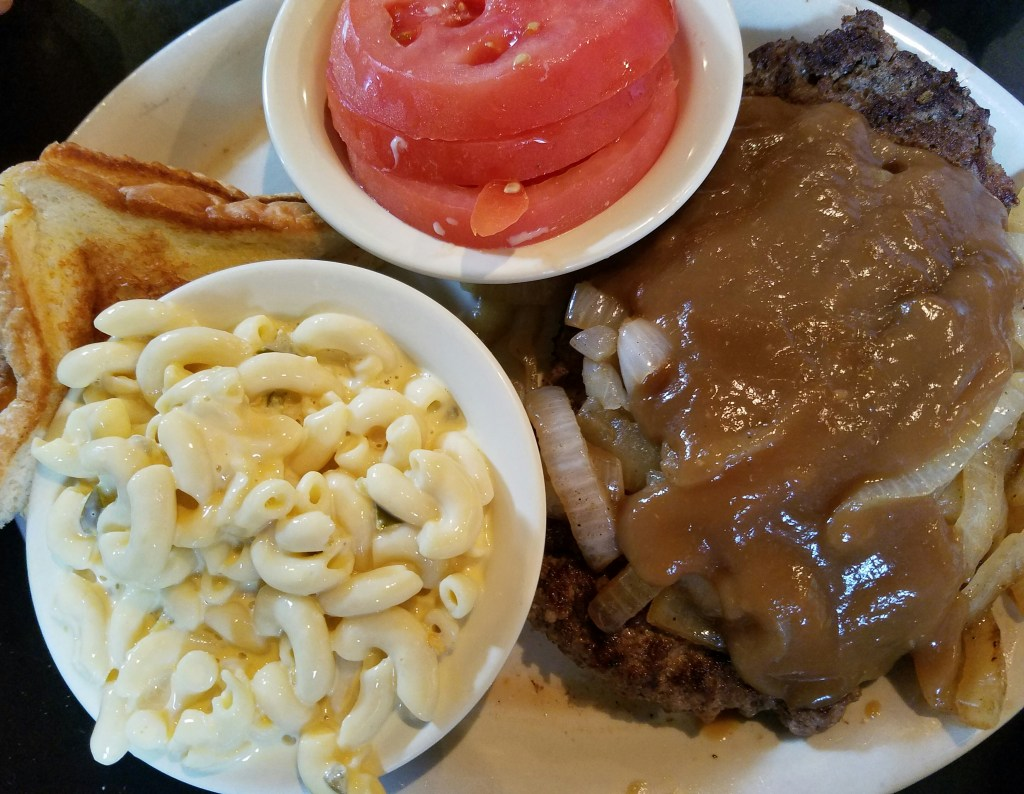 The antler Cafe, Grilled Hamburger Steak with Onions and Brown Gravy