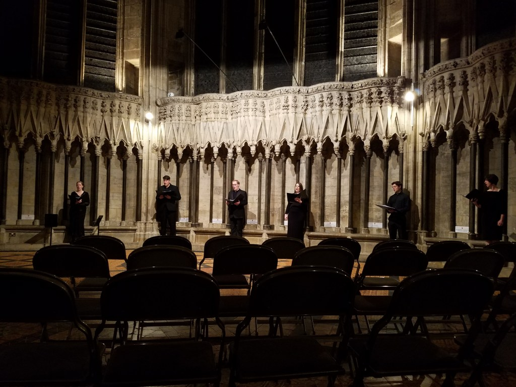 The Ebor Singers performing in the Chapter House, The York Minster, York, England, October 2017