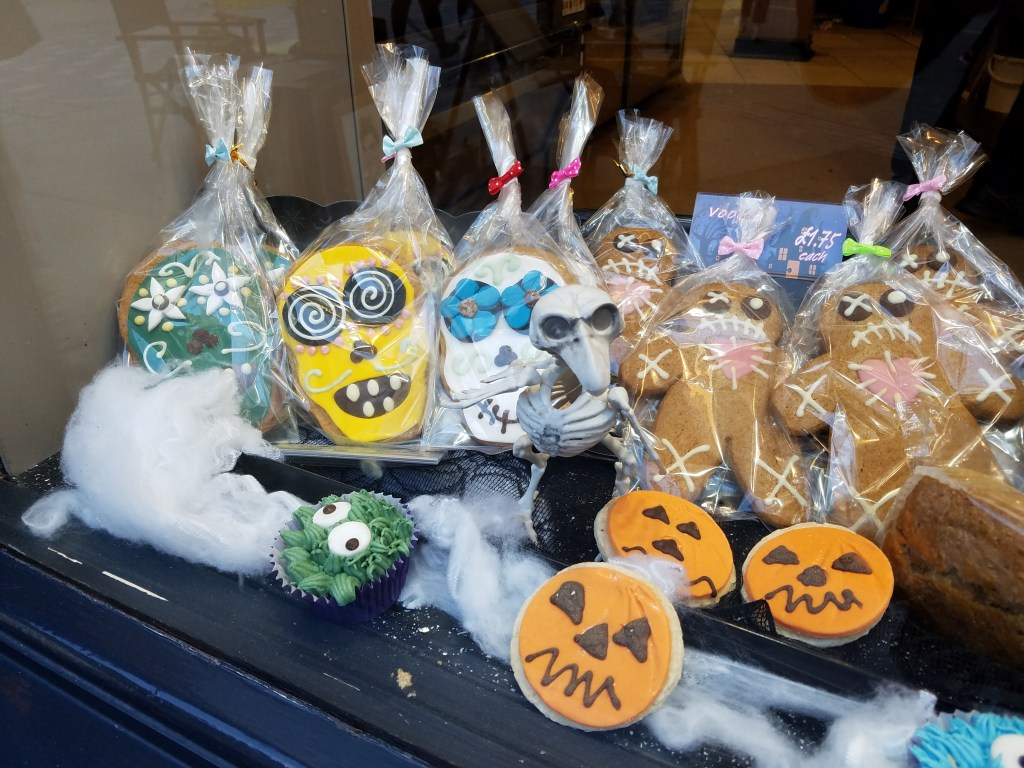 Window display in a bakery in York, England, October 2017.