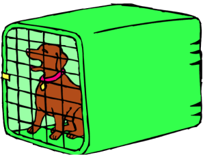 cartoon image of a dog in a cage
