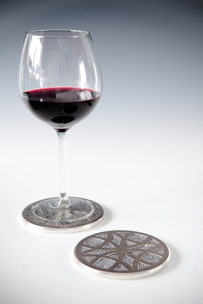 CIRCA Coaster Silver with Wine Glass