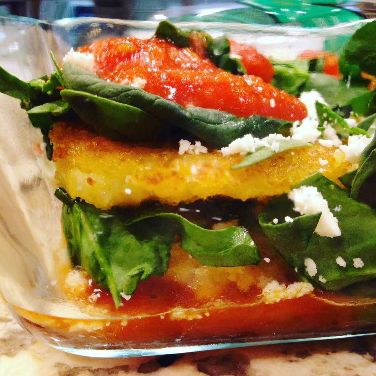 Spinach Feta Pan Fried Mediterranean Polenta Cakes & More