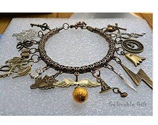 Mainstreet247 Harry Potter Books and Logo Charm Metal Novelty Charm Bracelet