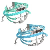 JOVIVI® Multilayer Charm Infinity Love Best Friend Wish Wrap Cuff Bracelet ,2pc (Deep Blue&Light Blue)