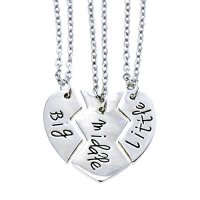 O.RIYA Big Sis Middle Sis Little Sis Jewelry Necklace Set 3 Pieces, Best Friend Necklaces Girls Jewelry , Bff Necklace Little Girls Kids Jewelry (Grey)