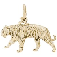 Rembrandt Charms, Tiger, 22K Yellow Gold Plate on .925 Sterling Silver