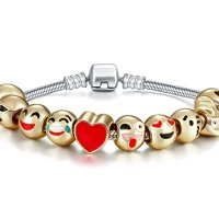 Y&M Emoji Charms Bracelet with Gift Box - 18K Gold Plated with 10 Pieces of Emoji Beads Enamel Smiley Faces