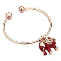 Elephant Cuff Bracelets Red Enamel Gold Tone Bangle