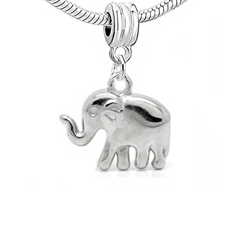 Sterling Silver 3D Cute Baby Elephant Sitting Down Dangle Charm Bead For Bead Charm Bracelet