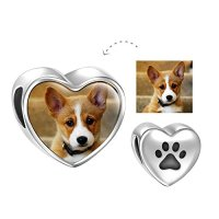 SOUFEEL Personalized Pet Dog Photo Charms 925 Sterling Silver Heart Bead Charm for Bracelets Necklaces