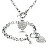 Stainless Steel Faith Love Hope Engraved Heart Tag Charm, Bracelet Necklace Set