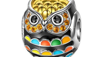 a032833cd NinaQueen Gifts Christmas Charms 925 Sterling Silver Owl Animal Beads Gold  Plated Multicolor Enamel Charm for