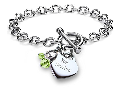 Sterling Silver Charm Bracelet With Attached Simulated January Birthstone Charm