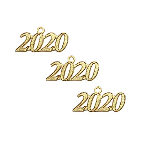 2020 100pcs Silver Yansanido Pack of 100 Silver 2020 Year Charms Signet 2020 Year DIY Antique Message Charms Pendant for Making Bracelet and Necklace