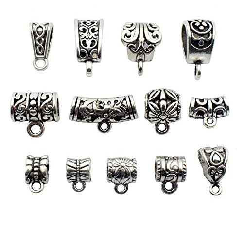 9 Pendant Bails Jewelry Hangers Antiqued Copper Hang Charms Set Tube