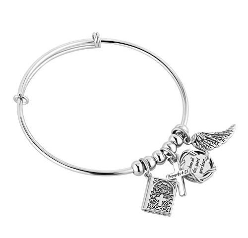 Little Girl/'s First Communion bangle bracelet in stainless steel with Bible and Angel wing charm Blessed Bible Angel Wing bracelet.