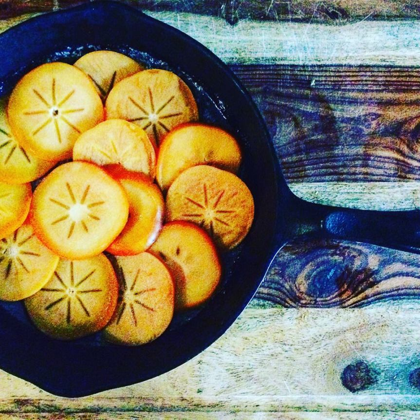 Persimmons in cast iron - rustic as hell.