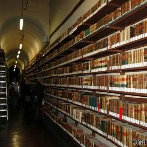 Gli scaffali della Biblioteca Nazionale di Napoli