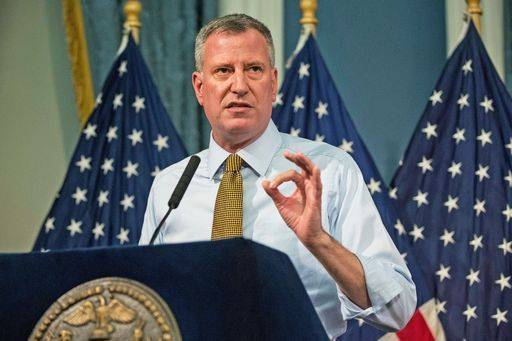 NYC Mayor De Blasio Hosts Nathan's Hot Dog Eating Contest Weigh In Ceremony