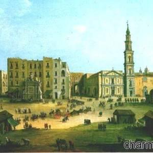 Piazza Mercato e la Chiesa del Carmine in un vecchio affresco