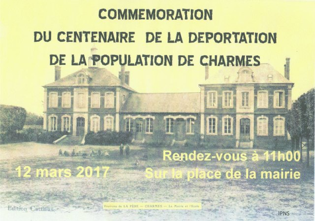 Commémoration du centenaire de la déportation de la population de CHARMES