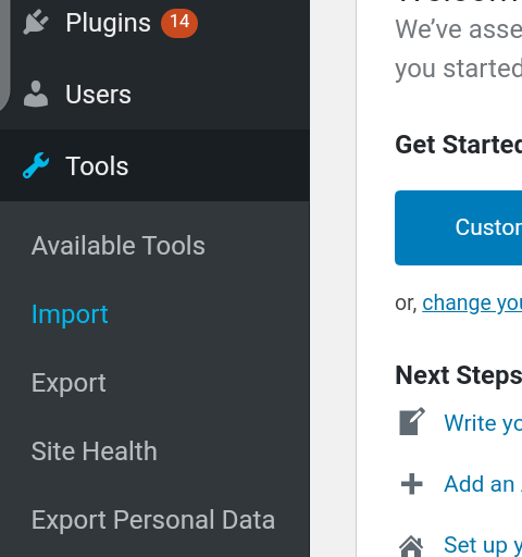 Import tool on your WordPress site