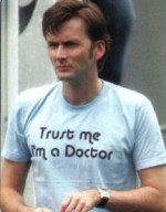 Having a PhD - image of actor David Tennant saying 'Trust me, I'm a doctor'.