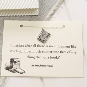 Pride & Prejudice themed book necklace