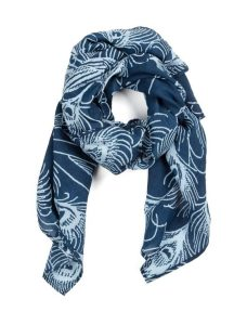 Blue scarf with peacocks, Pride & Prejudice theme