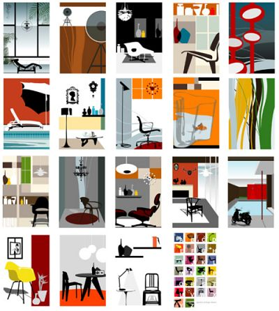 modern icons of mid century modern furniture poster - © Blue Ant Studio