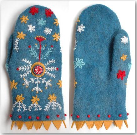 bestickte Handschuhe - © dadaya
