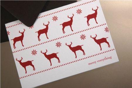 Weihnachtskarten mit Rehen und Schneeflocken
