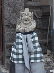 """Statues in Bali are often """"dressed"""", even on public buildings"""