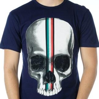 Ricardi trendy heren skull T-Shirt met steentjes - R808 Donkerblauw