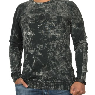 ReRock trendy regulair fit ronde hals gewassen heren sweatshirt - R568 Zwart